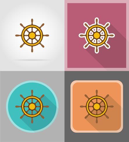 volante per illustrazione vettoriale icone piane di nave