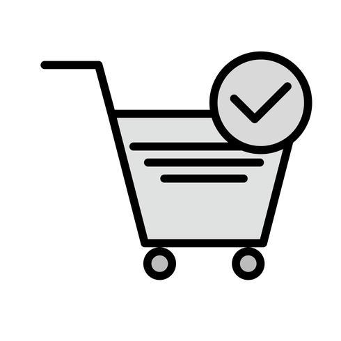 Disegno verificato dell'icona degli elementi del carrello vettore