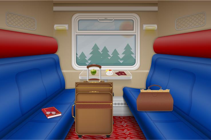compartimento treno all'interno vista vettoriale