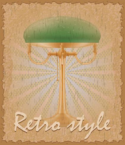 vecchia illustrazione di vettore della lampada da tavolo del manifesto di stile retro