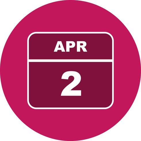 2 aprile Data in un giorno unico calendario vettore