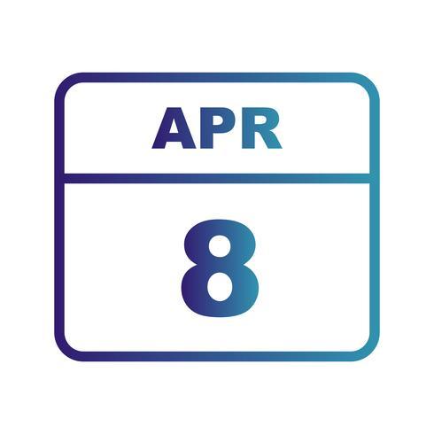 8 aprile Data in un calendario per un solo giorno vettore