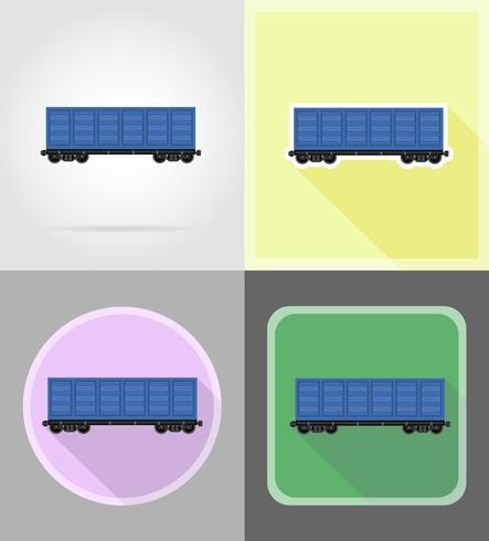 icone piane del treno ferroviario carrello illustrazione vettoriale