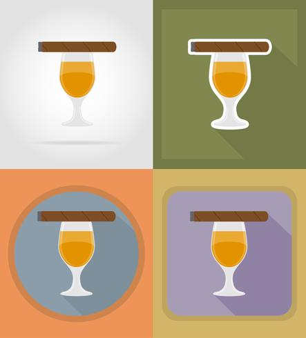 le icone piane delle bevande alcoliche e del sigaro vector l'illustrazione