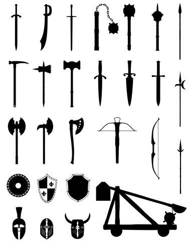 le armi antiche di battaglia hanno messo l'illustrazione nera di vettore delle azione della siluetta delle icone