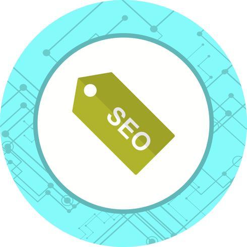 Progettazione dell'icona dell'etichetta di SEO vettore