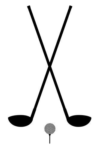illustrazione di vettore del profilo della siluetta della palla e del club di golf