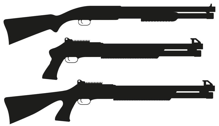 fucile da caccia sagoma nera illustrazione vettoriale