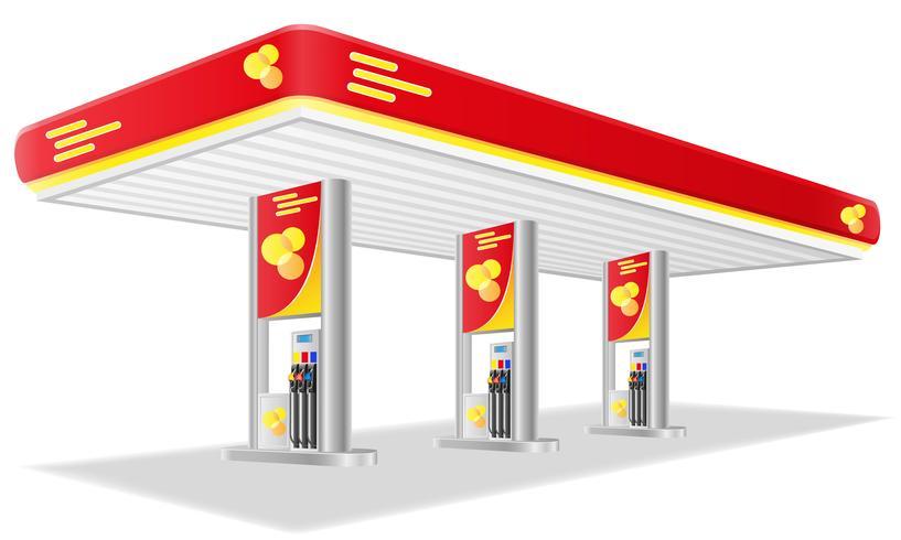 illustrazione di vettore della stazione di benzina dell'automobile