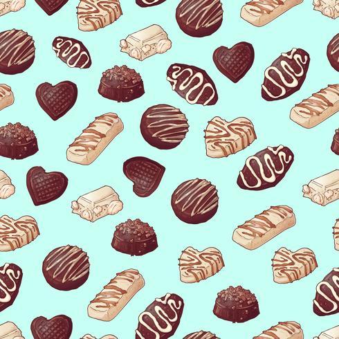 Modello senza soluzione di continuità Caramelle al cioccolato Illustrazione vettoriale Disegno a mano