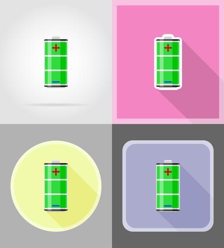 carica batteria icone piane illustrazione vettoriale