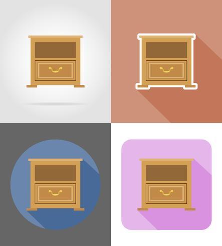 illustrazione piana di vettore delle icone stabilite della mobilia del comodino