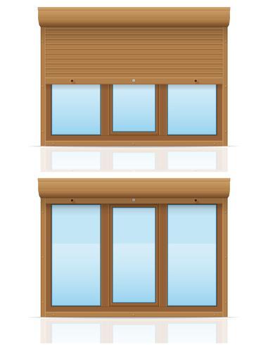 finestra di plastica marrone con tapparelle illustrazione vettoriale