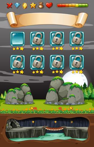 Modello di gioco di Cave Underground Nature vettore