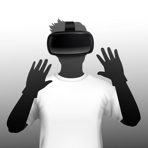 Immagine frontale della sagoma utente della cuffia VR vettore