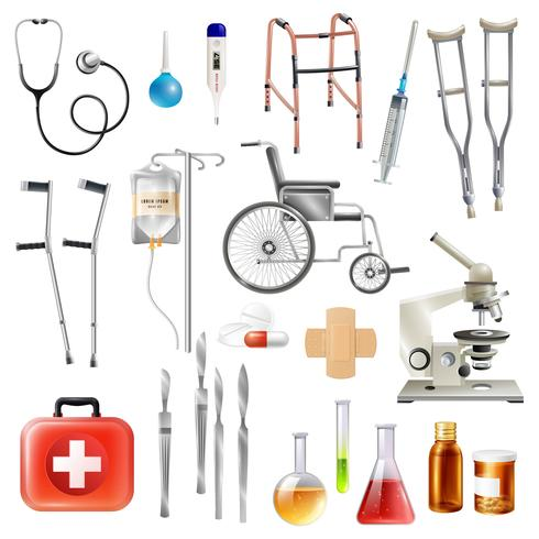 Set di icone piane di accessori medicali sanitari vettore