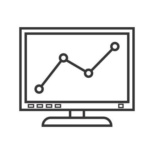 Schermo grafico linea Icona nera vettore