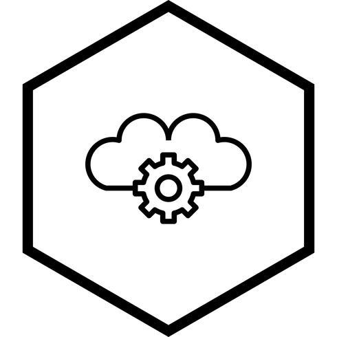 Disegno dell'icona di impostazioni cloud vettore