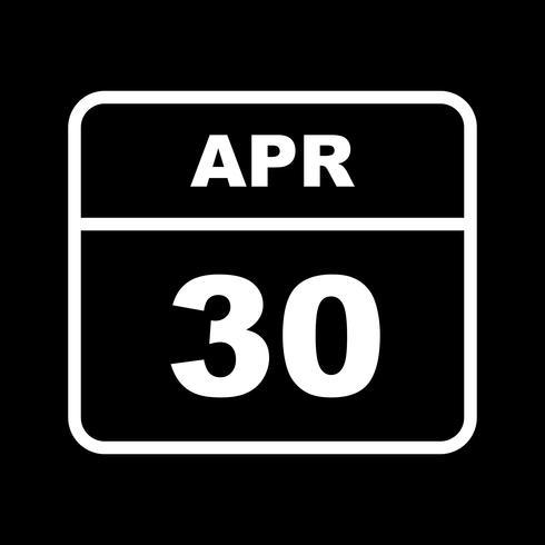30 aprile Data su un calendario per un solo giorno vettore
