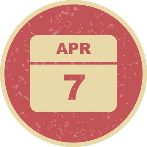 7 aprile Data su un calendario per un solo giorno vettore