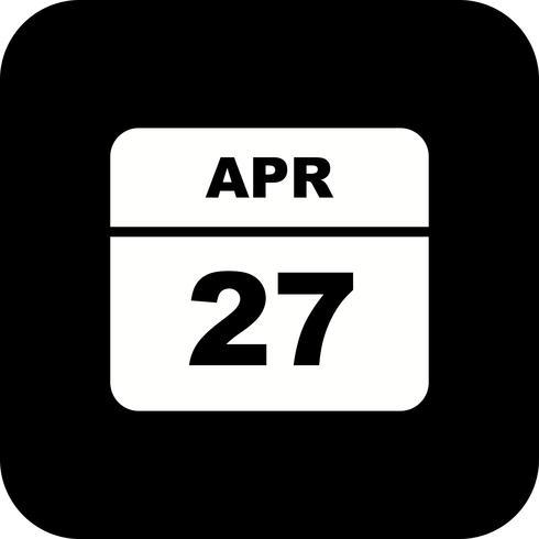 27 aprile Data in un giorno unico calendario vettore