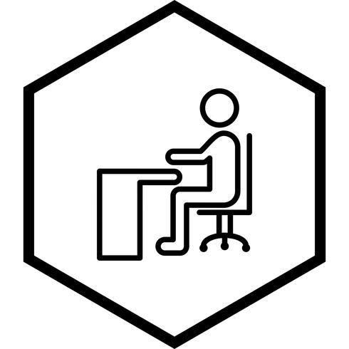 Seduto su Desk Icon Design vettore