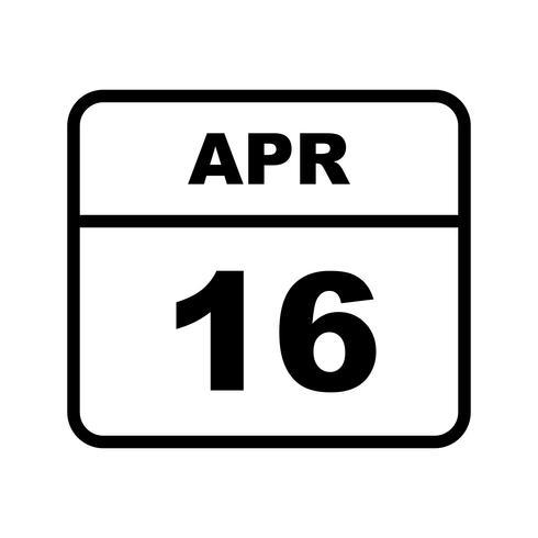 16 aprile Data su un calendario per un solo giorno vettore