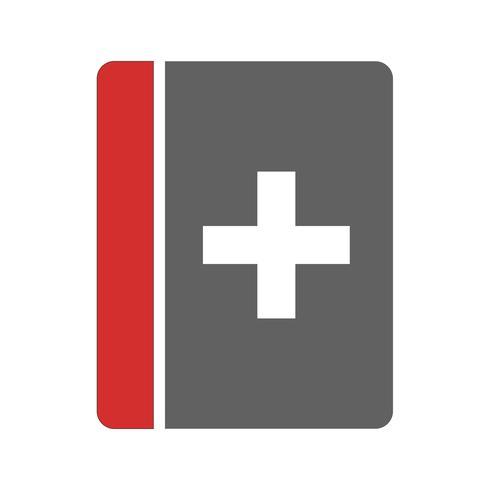 Disegno dell'icona del libro medico vettore