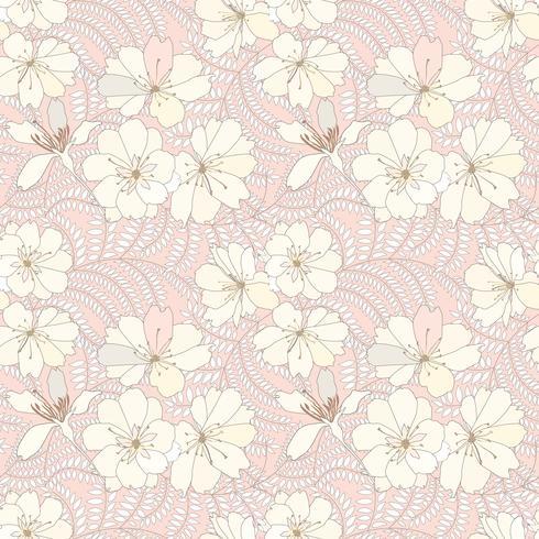 Motivo floreale senza soluzione di continuità. Sfondo di fiori Trama giardino fiorito. vettore