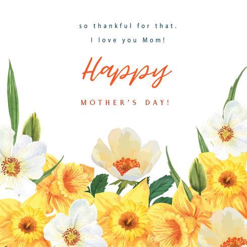 Daffodil e Magnolia Blooming acquerello acquerello carte da sposa floreale, invito salva la data, matrimonio celebrare il matrimonio, grazie Card design illustrazione. vettore