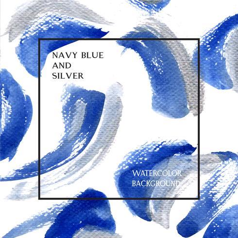 L'indaco, ultra colore marino dell'acquerello di colore e struttura di gouache della priorità bassa della bandiera progettano il grunge della spruzzata, spazio con la carta da parati dell'illustrazione di vettore della stampa del testo.