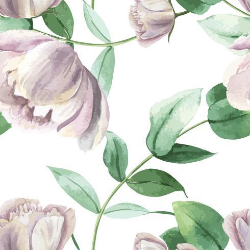 La peonia fiorisce il tessuto d'annata botanico floreale senza cuciture dell'acquerello di stile dell'acquerello del modello del watercolo, illustrazione di vettore della carta dell'invito della decorazione di progettazione del fiore dell&