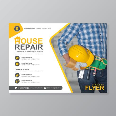 Gli strumenti di costruzione coprono il modello di a4 e le icone piane per una progettazione di brochure e brochure, flyer, banner, decorazione di volantini per la stampa e presentazione illustrazione vettoriale