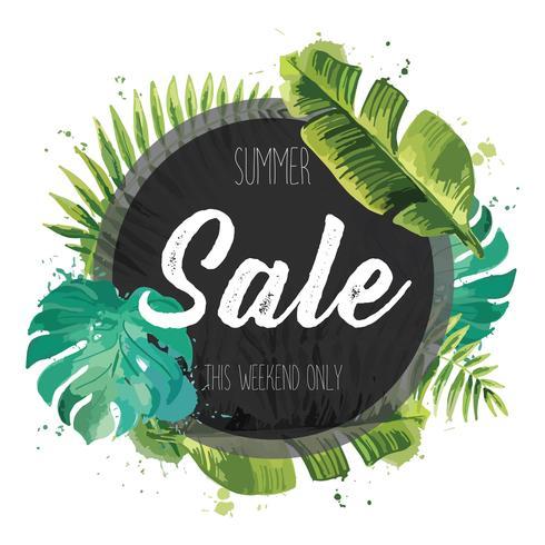 Banner di vendita, poster con foglie di palma, foglia di giungla. vettore