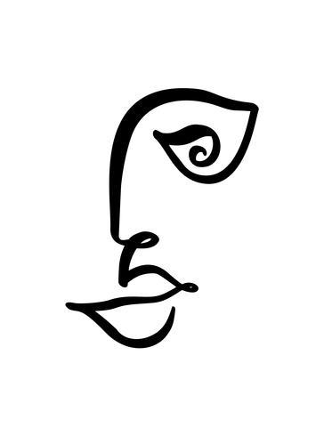 Linea continua, disegno di volto di donna, concetto minimalista di moda. Testa femminile lineare stilizzata con gli occhi aperti, logo di cura della pelle, icona di salone di bellezza. Illustrazione vettoriale