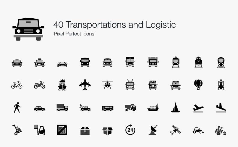 40 Trasporti e icone logistiche Pixel Perfect. vettore