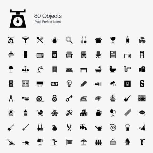 80 oggetti icone perfette pixel. vettore