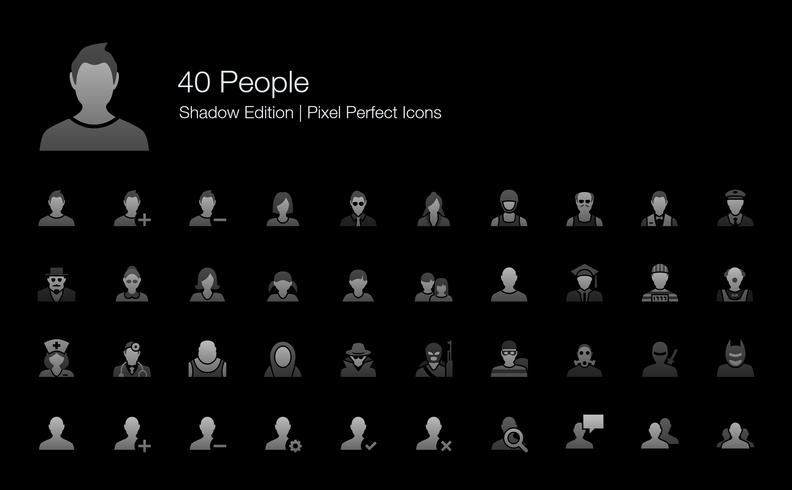 Persone Avatar Character Pixel Perfect Icons Shadow Edition. vettore