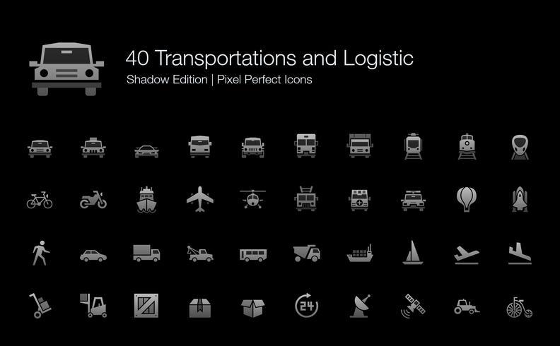 Trasporto e Logistica Pixel Perfect Icons Shadow Edition. vettore
