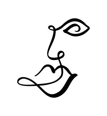 Linea continua, disegno di volto di donna, concetto minimalista di moda. Testa femminile lineare stilizzata con gli occhi aperti, logo di cura della pelle, icona di salone di bellezza. Illustrazione vettoriale una riga