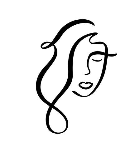 Linea continua, disegno di volto di donna, concetto minimalista di moda. Testa femminile lineare stilizzata con gli occhi chiusi, logo di cura della pelle, icona di salone di bellezza. Illustrazione vettoriale