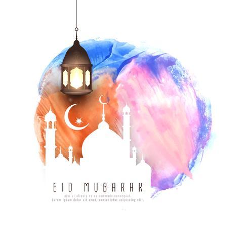Illustrazione astratta del fondo dell'acquerello di Eid Mubarak vettore