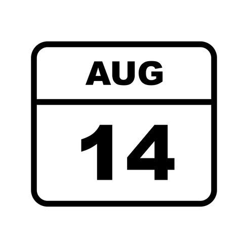 14 agosto Data su un calendario per un solo giorno vettore