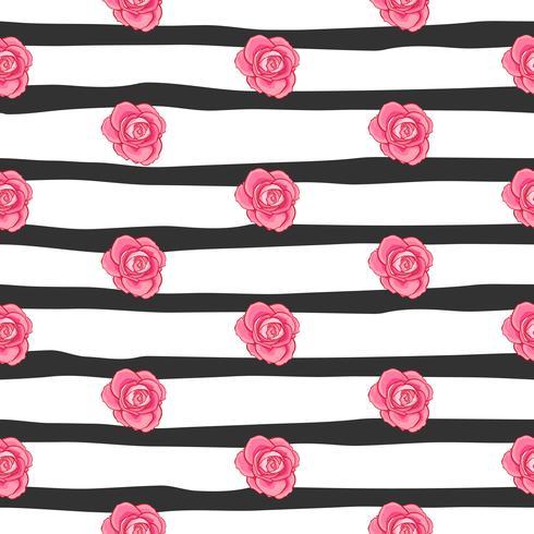 modello senza cuciture rosa del fiore, modello senza cuciture della rosa floreale di vettore, fondo del fiore vettore