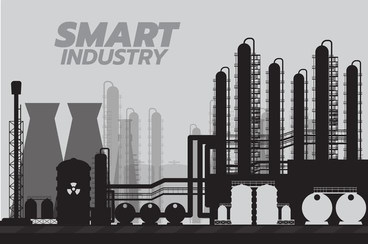 Stabilimento chimico industriale astuto, illustrazione di vettore