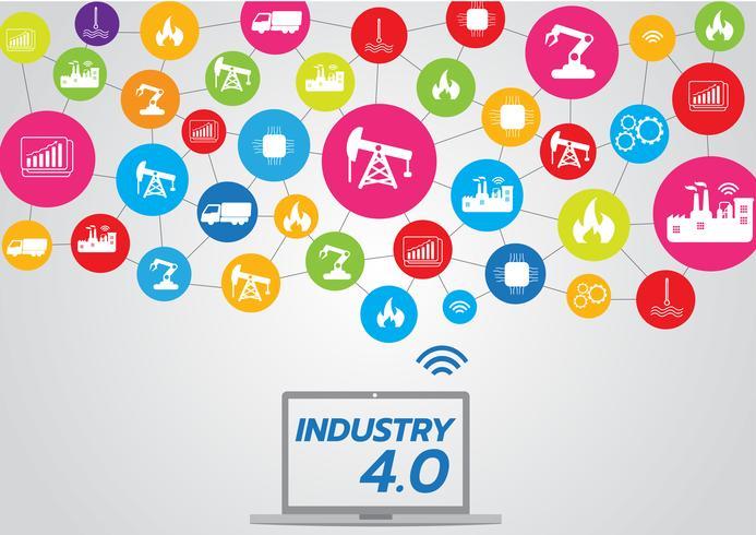 Icona del concetto di industria 4.0, Internet of things network, soluzione di fabbrica intelligente, tecnologia di produzione, robot di automazione con sfondo grigio vettore