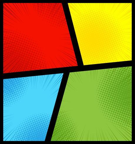 Sfondo della pagina di fumetti con effetti radiali, mezzitoni e raggi in stile pop art. Modello vuoto nei colori verde, giallo, blu e rosso. vettore
