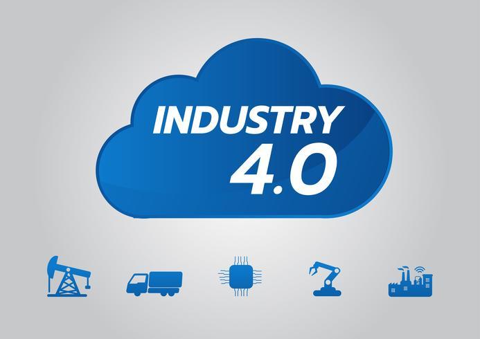 Concetto di industriale 4.0, icona di vettore di fabbrica intelligente. Illustrazione di Wi Fi Plant. Tecnologia industriale Internet of Things (IoT).