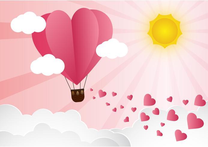 amore e il giorno di San Valentino, Origami fatto mongolfiera sorvolando nuvola con cuore galleggiante sullo stile art sky.paper. vettore