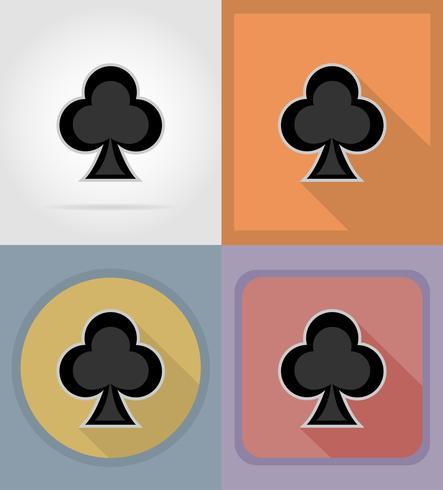 illustrazione piana di vettore delle icone del casinò del vestito della carta del club